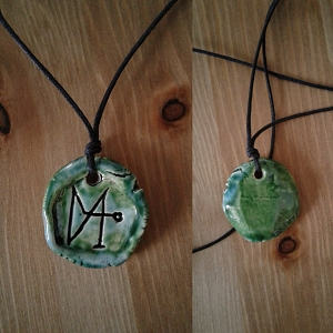 Archangel Gabriel Necklace Pendant Ceramic Turquoise Green Angel Amulet
