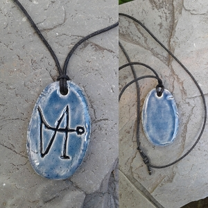 Archangel Gabriel Necklace Pendant Ceramic Blue Angel Amulet