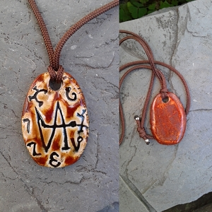Archangel Gabriel Necklace Enochian Pendant Ceramic Angel Amulet