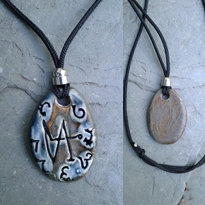 Archangel Gabriel Necklace Enochian Pendant Ceramic Blue Bronze Angel Amulet