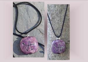 Angel Gabriel Necklace, Archangel Sigil Purple Pendant, Sacred Protection, Ceramic Stone, Pottery Focal Beads