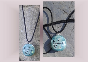 Angel Gabriel Necklace, Archangel Sigil Teal Pendant, Sacred Protection, Ceramic Stone, Pottery Focal Beads