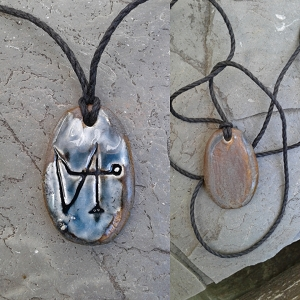 Archangel Gabriel Necklace Pendant Ceramic Blue Bronze Angel Amulet