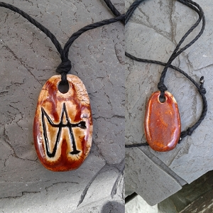 Archangel Gabriel Necklace Pendant Ceramic Angel Amulet