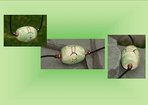 Gemini Necklace, Sun Sign Pendant, Zodiac Astrology Jewelry, Green Ceramic Focal Bead, Wearable Pottery, Mercury Amulet Sign