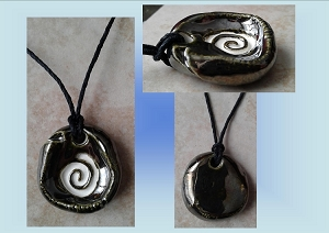 Spiral Aromatherapy Necklace Burnished Gold Ceramic Essential Oil Diffuser Pendant Celtic Clay Amulet