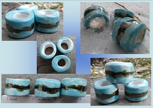 Set 3 Turquoise Gold Macrame Beads Large Hole Ceramic Beads Antique Gold Pottery Dreads .2