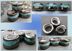 Set 3 Turquoise Gold Macrame Beads Large Hole Ceramic Beads Antique Gold Pottery Dreads