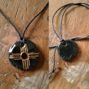 Zia Sun Necklace Gold Lustre & Black Ceramic Pendant Native American Solar Amulet