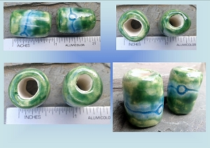 Set 2 Green Blue Ceramic Macrame Beads Dreadlock Dread Medium Hole Beads Fibre Arts Wool