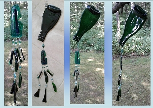 Green Reycled Bottle Sun Catcher Glass Wind Chime Wine Upcycled Bottle Fused Glass Ornament Garden Decor