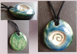 Green Blue Sacred Spiral Ceramic Aromatherapy Necklace Essential Oil Diffuser Pendant