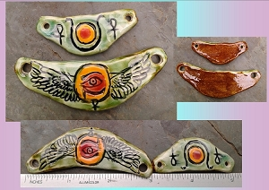 Hathor Goddess Pendant Egyptian Winged Disc Amulet Green Orange Ceramic Pendant Hieroglyph Ancient Egyptian Solar Disc
