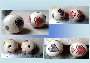 Set 2 Purple Red Heart Ceramic Beads Love Pottery Clay Amulets for Jewelry Making