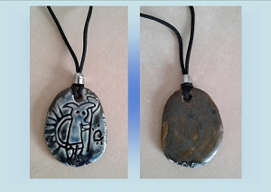 Hopi God Necklace Anasazi Pendant Ceramic Petroglyph Blue Bronze Native American Cave Art Ancient Rock Drawings