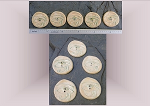 5 Ceramic Buttons, Eye of Horus Pottery Buttons, Egyptian Hieroglyphics, Horus Natural Stone Buttons, Handmade Clay Buttons