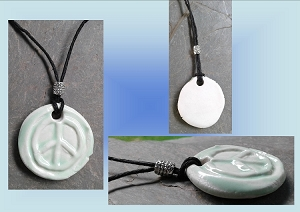 Icy Green Peace Sign Porcelain Pendant Necklace Symbol Amulet on Hemp Cord  Boho Beach Surfer