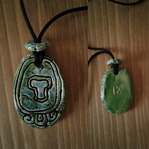 Mayan IK Wind Ceramic Necklace Mesoamerican Tzolk'in Day Sign Amulet Turquoise Green Aztec Pottery