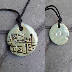 ILATI Cuneiform Necklace Sumerian GODDESS Pendant Ceramic Sea Green Amulet Sigil