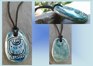 Mayan IMIX Crocodile Ceramic Necklace Mesoamerican Tzolk'in Day Sign Amulet Clay Pottery Pendant Aztec Calender