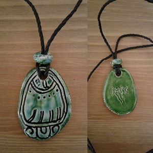 Mayan IMIX Necklace Mesoamerican Tzolk'in Day Sign Crocodile Glyph Ceramic Amulet Turquoise Green