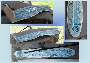 Psychedelic Sea Turquoise Porcelain Incense Burner Celtic Spiral Ceramic Stick Holder