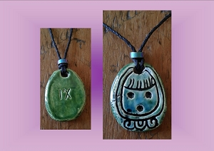 Mayan I'X Necklace Turqoise Green Jaguar Glyph Mesoamerican Tzolk'in Day Sign Amulet