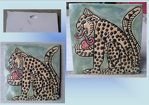Mayan Jaguar Tile Yellow Gold Black Green Ceramic Decorative Tile Cat Clay Wall Decor