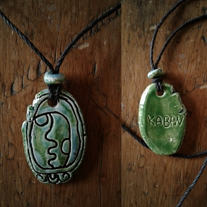Mayan Kaban Necklace Mesoamerican Tzolk'in Day Sign Earthquake Glyph Ceramic Amulet Turquoise Green