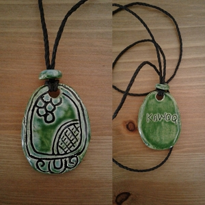 Mayan KAWOQ Necklace Mesoamerican Tzolk'in Day Sign Thunder Glyph Ceramic Amulet Turquoise Green