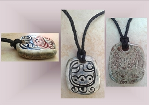 Mayan AK'BAL' Darkness Ceramic Necklace Mesoamerican Tzolk'in Day Sign Amulet