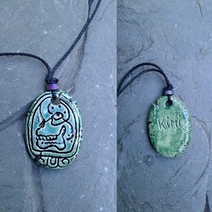 Mayan KIMI Necklace Mesoamerican Tzolk'in Day Sign Rebirth Skull Glyph Ceramic Amulet Turquoise Green