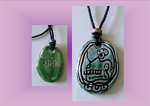 Mayan KIMI Skull Rebirth Ceramic Necklace Mesoamerican Tzolk'in Day Sign Amulet Clay Pottery Pendant