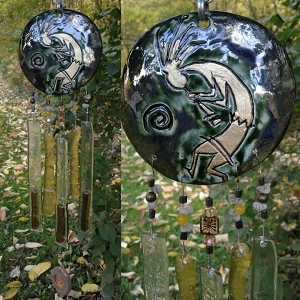 Kokopelli Glass Wind Chime Pewter Gold Pottery Hopi Petroglyph Garden Ornament