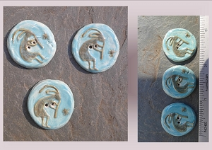 3 Ceramic Kokopelli Pottery Buttons, Turquoise Ceramic Stone, Handmade Sewing Knitting Supplies
