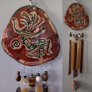 Kokopelli Glass & Clay Wind Chime Pottery Hopi Petroglyph Ceramic Garden Ornament