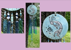 Kokopelli Glass Wind Chime Turquoise Ceramic Chime Hopi Petroglyph Ancient Art Garden Ornament Mobile