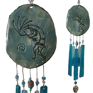 Kokopelli Glass & Clay Wind Chime Turquoise Pottery Hopi Petroglyph Ceramic Garden Ornament