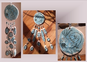 Turquoise Kokopelli Pottery Wind Chime Turquoise Ceramic Clay Mobile Native American Art