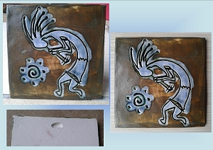 Kokopelli Ceramic Decorative Tile Brown Blue Clay Hopi Pottery Petroglyph Southwest Fertility Symbol
