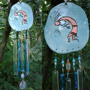 Kokopelli Glass Wind Chime Turquoise & Copper Pottery Hopi Petroglyph Ceramic Garden Ornament