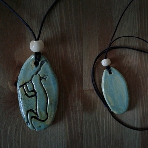 Petroglyph Kokopelli Necklace Sea Green Ceramic Pendant Native American Folklore