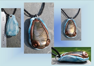 Natural Labradorite Pendant on Blue Porcelain Teardrop Spectrolite Crystal Necklace Stone Amulet
