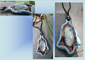 Large Natural Labradorite Pendant on Blue Porcelain Oval Spectrolite Crystal Necklace Stone Amulet
