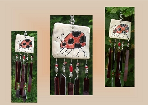 Ladybug Glass Windchime, Pottery Tile Mobile, Red Black Ceramic Chime, Stained Glass Art, Insect Bug Suncatcher, Garden Hanging Decor