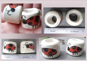 Set 2 Ladybug Ceramic Macrame Beads Large Hole Dread Dreadlock Insect Pottery Clay
