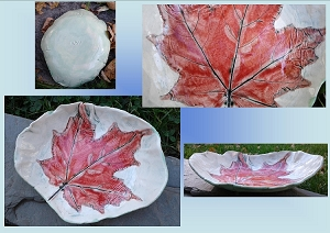 Maple Leaf Dish Ceramic Bowl Spoon Rest Red Leaf Rustic Pottery Plate Candy Dish Ring Bowl