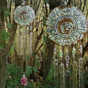 Atlantis Glass Wind Chime MU Pottery Chimes Moss Green Lemurian Sun Catcher