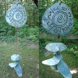 Atlantis Clay Wind Chime MU Pottery Chimes Lemurian Ceramic Turquoise Sun Catcher
