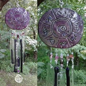 Atlantis Glass Wind Chime MU Pottery Chimes Lemurian Ceramic Purple Sun Catcher